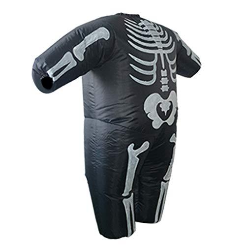 D DOLITY Skelett Kostüm Aufblasbares Kostüm Cosplay Kostüm mit Batteriefach und Fan für Weihnachten Halloween und Fasching (Fett Skelett Kostüm)