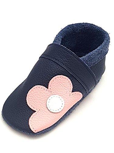 little foot company® 331 Krabbelschuhe Babyschuhe Lauflernschuhe Blume weiches Leder marine 20/21 ca. 1 1/2 - 2 Jahre (Blumen Weiche Leder-schuhe)