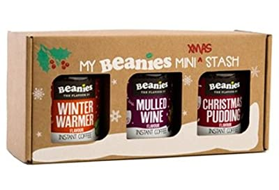 Gift Boxed Beanies Flavoured Instant coffee - Mulled Wine, Christmas Pudding,Winter warmer 3 x 50g jars
