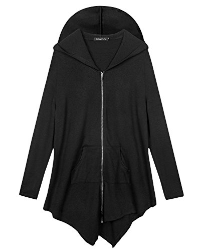 Schwarze Zip Hooded Sweatshirt (Urbancoco Damen Lose Zip Hooded Sweatshirt Jacke (5XL, Schwarz))