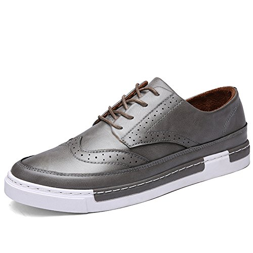 HYLM cuoio casuali scarpe in pizzo skateboard primavera e l'autunno di business Grey