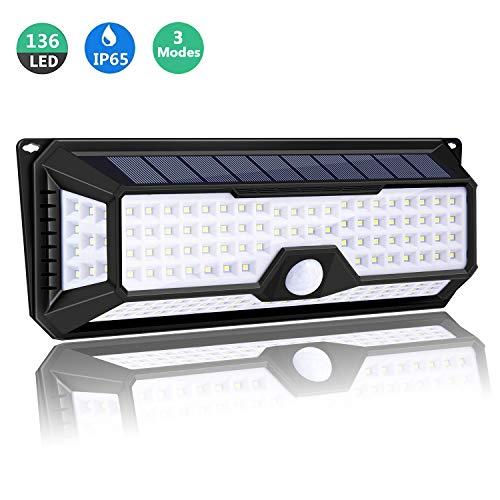 Solarleuchte für Außen, iGOKU 136 LEDs Außenwandleuchten Bewegungsmelder solarlicht für außen, 270° Weitwinkel, IP65 Wasserdicht, 3 Modi Hitzebeständig, für Garten, Garage, Innenhof und Balkon