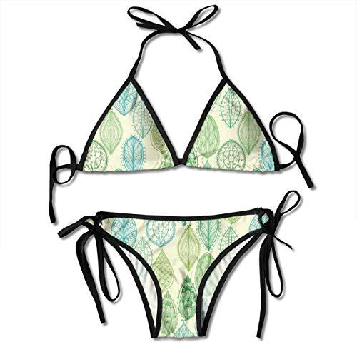 Adjustable Bikini Set Halter Ladies Swimming Costume, Hand Drawn Vintage Style Ornamental Leaves Forest Pattern In Green and Blue Tones,Halter Beach Bathing Swimwear