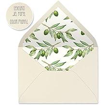 sobres forrados invitaciones de boda-FLORES (22,5x16,5 cm) (olivo)