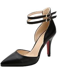 Guoar High Heels Damen Spitzschuh PU Geschlossene Toe Ankle Strap Schnalle Pumps mit Stiletto Absatz Club Party Hochzeit