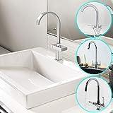 Aquamarin Rubinetto miscelatore modello a scelta lavello cucina ottone cromato bicomando design minimalista moderno