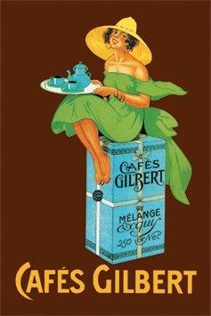 Blechschild 20x30 cm Cafes Gilbert Jugendstil Frau mit Tablett RV 300/137