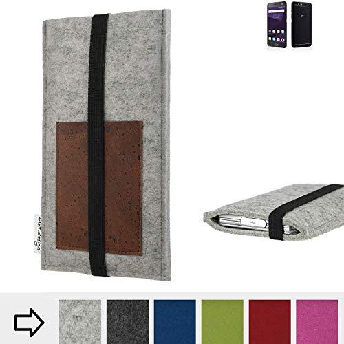 flat.design Handy Hülle Sintra für ZTE Blade V8 64 GB handgefertigte Handytasche Filz Tasche Schutz Case Kartenfach Kork