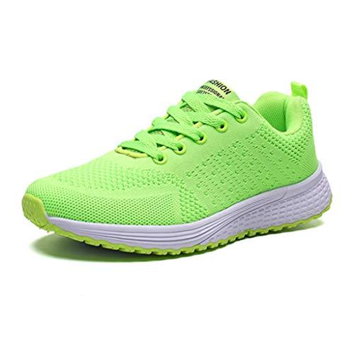 Xinxie Damen Fitness Laufschuhe Sportschuhe Schnüren Running Sneaker Netz Gym Schuhe Sport Outdoorschuhe Sportschuhe Atmungsaktive,Grün,40