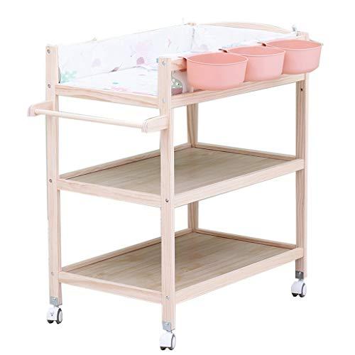 ZAQI Wickelkommode wickelaufsatz wickeltisch Grün/Blau/Pink Große Wickeltisch mit Pad, Kinderzimmer Baby Kommode aus Holz Lagerung Badewanne Einheit Station mit Rädern (Color : Pink) -