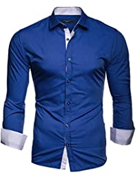 02a9b29ed5 Kayhan Hombre Camisa Manga Larga Slim Fit S-6XL - Modello Twoface + London