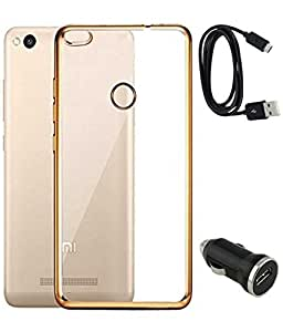 TBZ Transparent Electroplated Edges TPU Back Case Cover for Xiaomi Redmi 3s with Car Charger and Data Cable -Golden