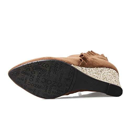 Compensees Pointu Bout UH Marron Talon pour Fourrure Chaussures Chaud Femmes Bottines Lhiver avec 2017 avec Dentelles qqwU8IB