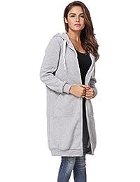 a8f97334f3b54 Reaso Femme Manteaux à Capuche Longue Sweatshirt Mode Gilet Hiver Hoodie  Veste Jacket Casual Outwear Manches