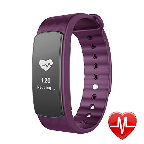 Lintelek Smart Bracelet Connecté Fitness Montre Cardio Tracker d'Activité Santé Montre Connectée Sport Etanche IP67 Bluetooth 4.0, Suivi du Sommeil Podomètre Fréquence Cardiaque Alertes Appel SMS, Com...