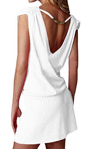 Vestito senza maniche donna estate sexy abiti da spiaggia casual abito schiena nuda corto copricostume mare caftano vestiti taglie forti da cocktail cerimonia partito giorno bikni cover up mini dress