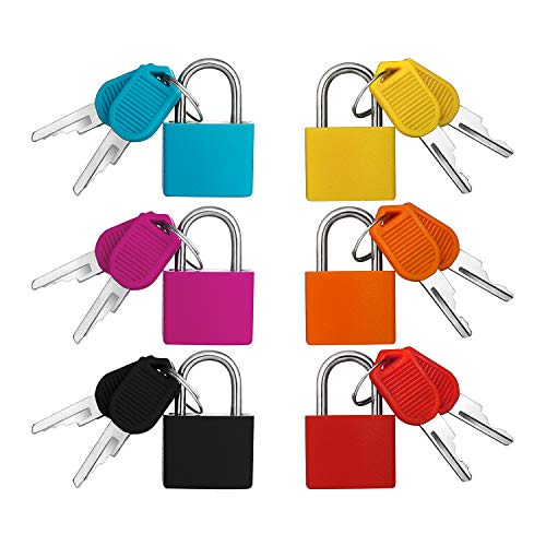 Mini candado de 6 piezas con juego de llaves, candado de equipaje colorido Candado pequeño Cerradura...