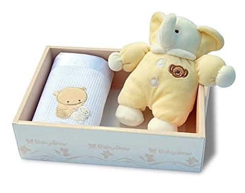 Coffret Cadeau de naissance nouveau né bébé Doudou Peluche Eléphant + Plaid Baby-Bow