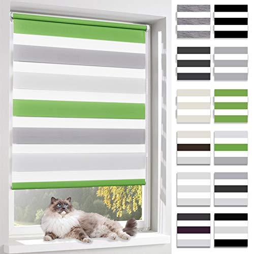 BelleMax Rollo für Tag und Nacht, doppelter Stoff, weiß, Vorhang ohne Bohren, mit Clips, mehrfarbig, 2 Arten von Installation und einfache Montage, Stoff, Grün / Grau / Weiß, 60 x 150cm