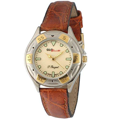 Peugeot Womens Glow in The Dark Two Tone Watch with Brown Leather Strap