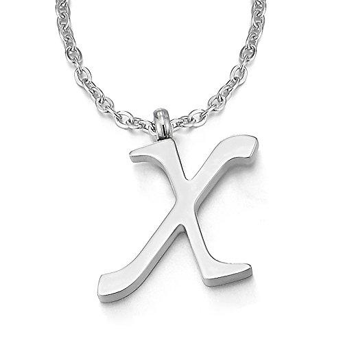 COOLSTEELANDBEYOND Nombre Inicial Letra del Alfabeto X Colgante, Collar de Mujer Hombre, Acero Inoxidable,50cm Cadena Cuerda