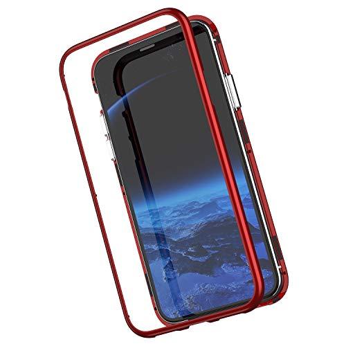 Kompatibel mit iPhone XR Hülle Transparent Tempered Glass Backcover Handyhülle mit Eingebauter Magnet Flip Funktion 360 Grad Schutz Metall Frame Adsorption Stoßfest Bumper Case Tasche,Rot