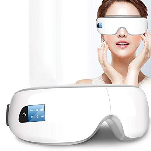 XBYXY Elektrisches Augenmassagegerät Bluetooth-Funktion für Augentaschen Augenringe Augenermüdung trockenes Auge Hitzekompression Drahtlose Augenmassagemaskewhite -