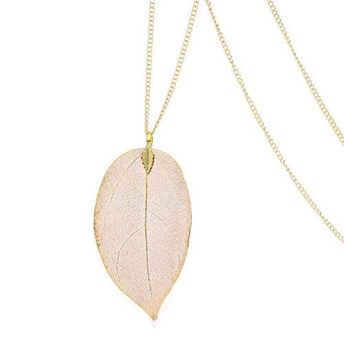 24K Gold getaucht Birke natur Leaf Anhänger & -