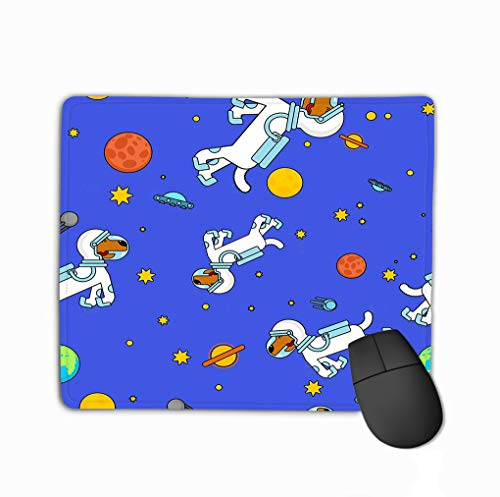 Gaming Mouse Pad Oblong Shaped Mouse Mat 11.81 X 9.84 Inch dog astronaut space pattern pet spaceman puppy costume universe textire dog astronaut space pattern Prints