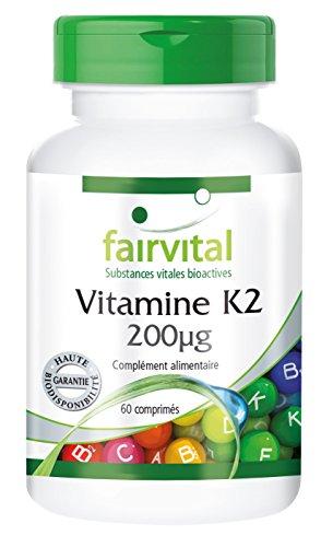 Vitamine K2 200µg - 60 comprimés - sous sa forme naturelle ménaquinone MK-7 - haute dose - substance pure