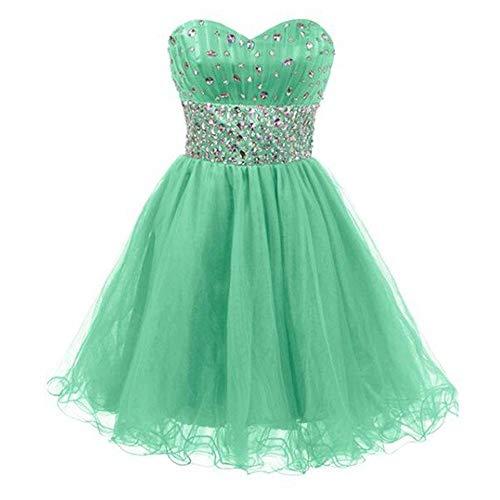 Guolipin Kleid Damen Perlen Vintage Collection Kleine Kleider Kurzes Kleid (Farbe : Emerald Green, Größe : US6)