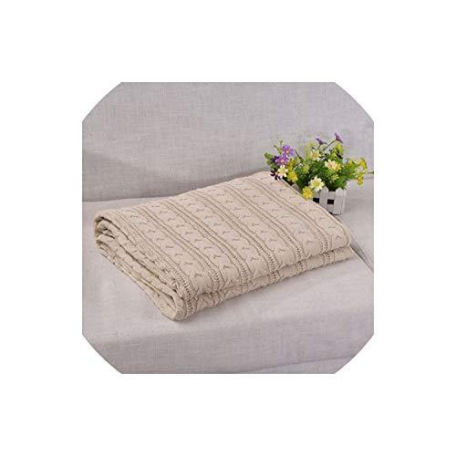 Fadue Sean Knitted Blankets Gestrickte Decke für Kinder Schlafen Bettwäsche Plaid für Sofa Heim Plaid Decken, Creamy White, 110cmx180cm -