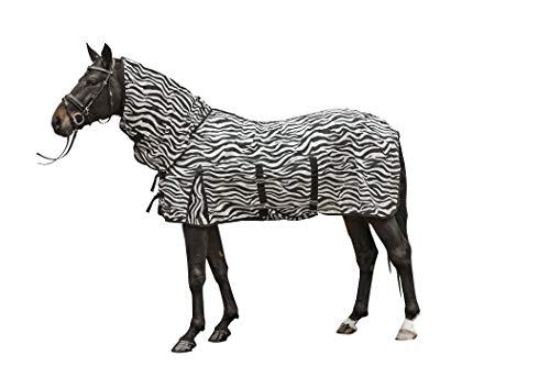 HKM Fliegendecke mit Halsteil -Zebra- mit Bauchlatz, weiß/schwarz, 165