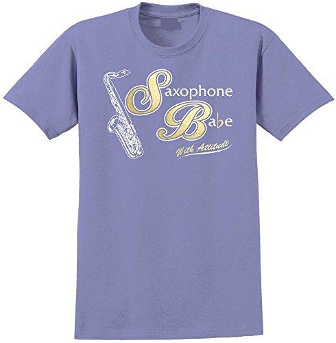 Saxophone Sax Tenor Saxophone Babe Attitude - Violett T Shirt Größe 86cm 34in Lge 12-13 Jahr MusicaliTee (Kinder Saxophon Für Yamaha)