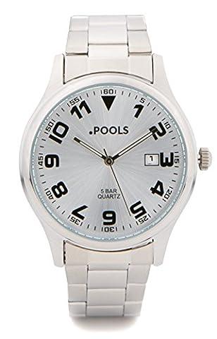 Baciami. Pools 3024Men Bracelet Metal Bracelet, Silver, Aviator Watch, Date Display, 5Bar