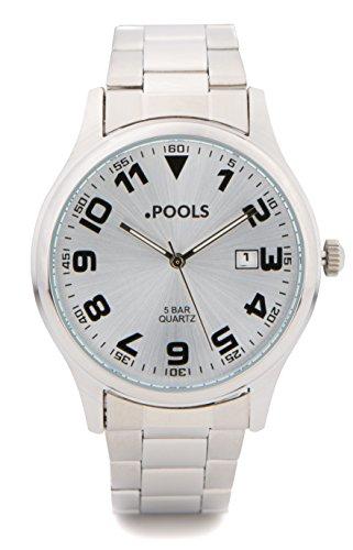 Baciami .POOLS 3024 Herren Armbanduhr, Metall-Armband, Silber, Fliegerdesign, Datumsanzeige, 5 Bar