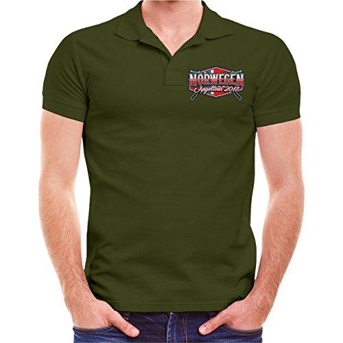 Männer und Herren POLO Shirt Norwegen Angeltour mit deinem WUNSCHNAME 2017 (mit Rückendruck) Olive