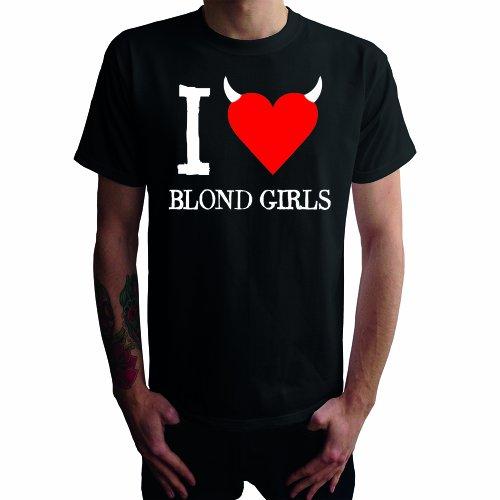 I don't love blond girls Herren T-Shirt, schwarz, (Blonde Haare Herren)