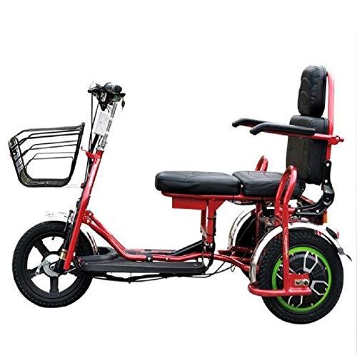 KNMHU Elektrisches Dreirad, geeignet für zusammenklappbaren tragbaren elektrischen Dreirad-Zweiroller für ältere oder behinderte Menschen,55km (Batterie-elektrischer Roller 48v)
