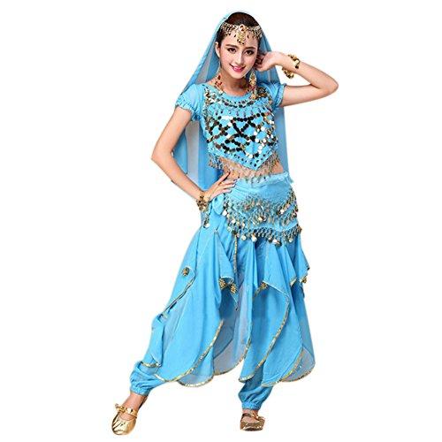 Dastrues 4 unids/Set Traje de Danza del Vientre Traje de Bollywood Vestido Indio de Las Mujeres Trajes de Baile Conjuntos Falda Tribal