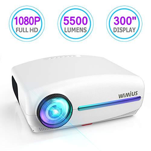 Vidéoprojecteur, WiMiUS 5500 Lumens Rétroprojecteur Full HD 1920 x 1080P Natif Vidéo Projecteur Soutien Dolby 4K Réglage Trapézoïdal 4D, LED avec VGA HDMI AV USB pour Home Cinéma PS4 Présentation PPT