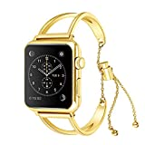 VIWIV Apple Watch Strap for 1/2/3/4 Generation 38Mm/42Mm Dekorative Metal Iwatch Hollow Chain Wristband Jewelry,Gold,38Mm