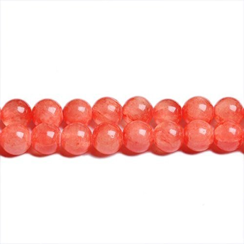 Fil De 62+ Orange/Rouge Jade Mashan 6mm Perles Rond - (CB31425-2) - Charming Beads