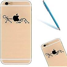 iPhone 6 Funda, Apple iPhone 6/6s Carcasa con Diseño, CLTPY [Cristalino Transparente] Caja Protectora, Cartoon Cat Series Shockproof Case para el iPhone 6s + 1 Aguja Azul - Tire de la Manzana