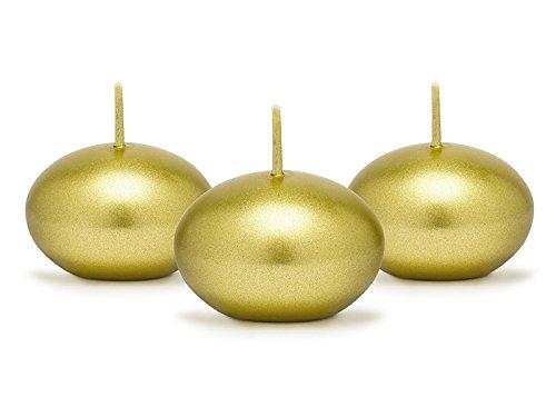 SiDeSo 5 Stück Schwimmkerzen 40mm viele Farben (gold metallik)