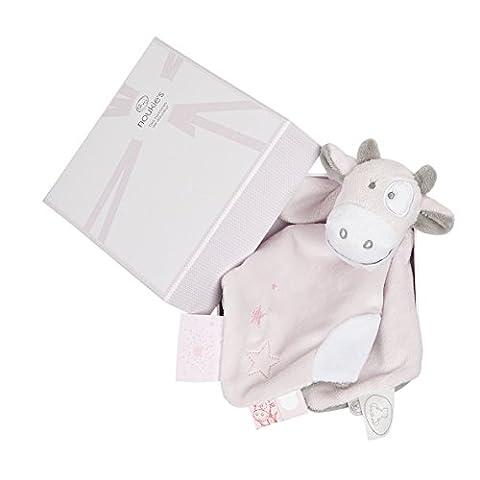 NOUKIES Doudou Lola Boîte Cadeau Rose Cocon/Blanc 14 x 8 x 20 cm