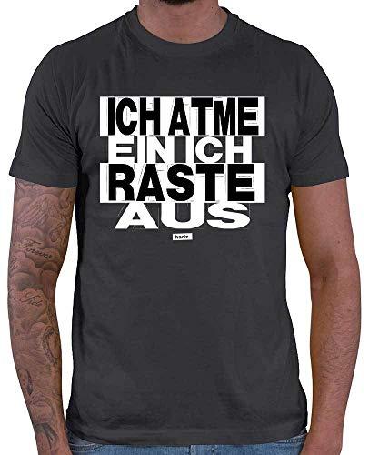 HARIZ  Herren T-Shirt Ich Atme EIN Ich Raste Aus Sprüche Schwarz Weiß Inkl. Geschenk Karte Dunkel Grau M