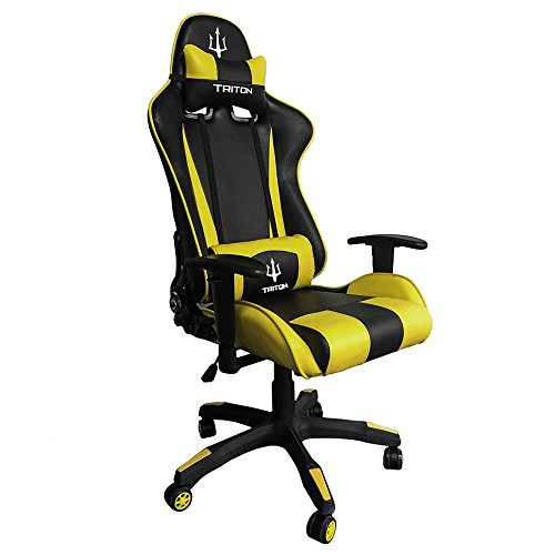 Triton p050-f1-by Gaming Chair-sedia, Simili Cuir, Noir/Jaune, 75x 60x 140cm
