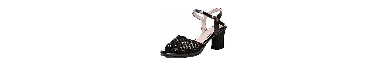HBDLH Botón 6 Cm Zapatos De Tacon Alto Tacones Gruesos Verano Medio Y Abiertos Dedos De Los Pies Diamante Zapatos... -