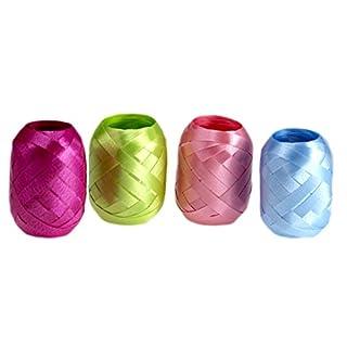 autooptimierer.de Ringelband Set Extra Breit 4 Stück Geschenkband Schleifenband Eiknäuel Polyband (Blau/Lila/grün/Rosa)